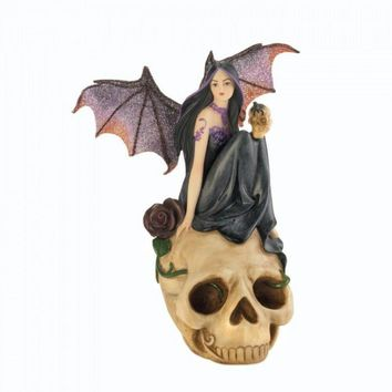 Bat Fairy On Skull Figurine