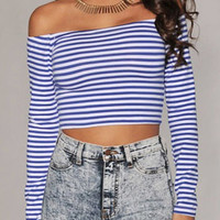 Blue and White Stripe Crop Top with 3/4 Sleeves