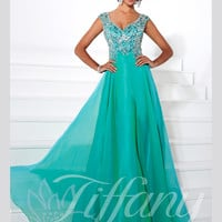 Sweetheart With Cap Sleeves Beaded Floor Length Prom Dress Tiffany Designs 16096