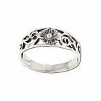 Sterling Silver Flower In Filigree Band Ring