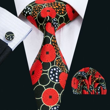 New Arrival Colorful Men`s Print Tie High Quality Design Hanky Cufflinks Sets For Men`s Party Wedding