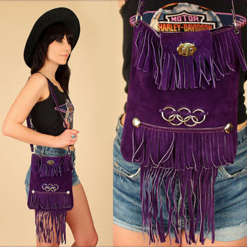 Suede FRINGE Bag ViNtAgE 1960's // Woodstock Era // Purple Suede Handbag 60's 70's Leather Satchel Purse // Hippie BoHo Summer Festival