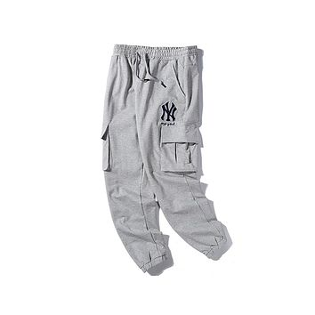 NY hot selling casual men and women embroidery LOGO fashion cargo pants Gray