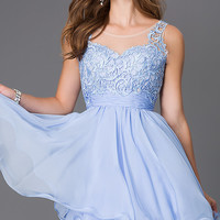 Short Sleeveless Homecoming Dress with Lace Bodice
