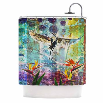 "AlyZen Moonshadow ""Birds Of Paradise With Stork"" Multicolor Green Digital Shower Curtain"