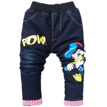 high quality winter thick kids pants style warm cotton baby boys jeans children trousers Cartoon Donald Duck baby Jeans 1-5Year