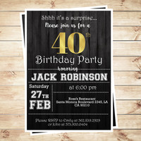 Surprise 40th birthday party invitations for him, Men 40th Birthday Invitations, Adult Birthday Party Invitations, Art Party Invitation