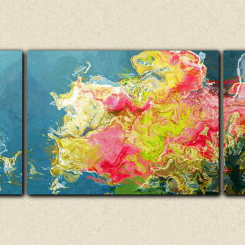 "Triptych abstract expressionism stretched canvas print, 30x60 to 40x78 giclee in pink and green, ""Aria"""
