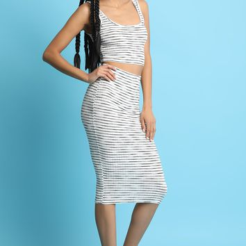 Striped Ribbed Knit Two-Piece Crop Top Dress Set