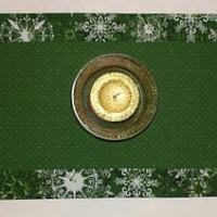 Green Holiday Snowflake Reversible Table Runner, by FabriArts