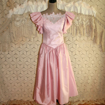 Vintage 80s Prom Dress Pink Formal Taffeta Bridesmaid Dress 1980s Drop Waist Tea Length Princess Dress Size 4 Dress Small Womens Clothing