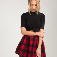 Checkered Flared Skirt - Red