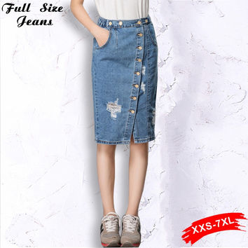 Button Front Denim Skirtall Plus Size Jean Skirt With A Fitted Top Playful Wedges Destructed  Suspender Jeans Skirts 4Xl 5Xl 7XL