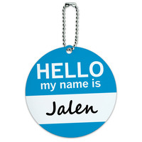Jalen Hello My Name Is Round ID Card Luggage Tag