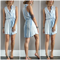 A Blue Tie Dye Tie Waist Dress