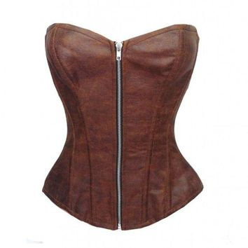 CREYUG3 Sexy Women Corset Plus Size Gothic Faux Leather Overbust Bustier Shapewear Corselet Black or Brown = 1930001668