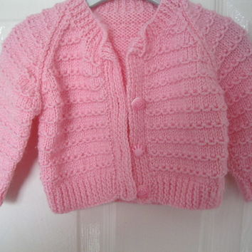 PINK Hand Knitted Cardigan for 0 - 6 months (kids baby present girls new born