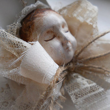 Ready to Ship! Hand Sculptured One of a Kind Angel Art Doll Christmas Ornament is handmade of clay, lace and twine.