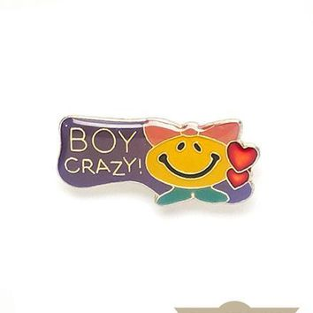 Boy Crazy! Vintage Pin
