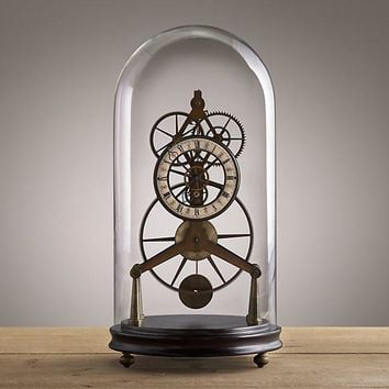 Antiqued Brass French Grasshopper Clock Cloche