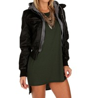 Black Knit Faux Leather Jacket