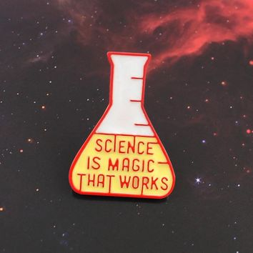 Science Experiment Cup Brooch Science is Magic That Work Enamel Lapel Pin Backpack Accessories Science Lovers and Friends Gifts