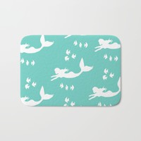 Mermaid Pattern Sea Green Bath Mat by Artist Abigail
