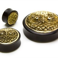 BRASS OWL Inlay Areng Wood Organic Plugs