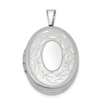 925 Sterling Silver Rhodium-Plated 19mm Polished and Brushed Leaves Oval Locket