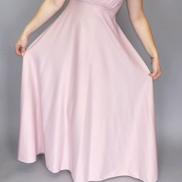 Vintage 1970s Pale Pink Formal Bridesmaid Maxi Dress Party Prom Gown Size Small Medium Princess Goddess Romantic Fairy Queen Medieval