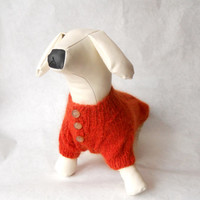 Dog Clothes dachshund Dog Sweater Warm Hand Knitting for medium dog fluffy cable ORANGE Mohair