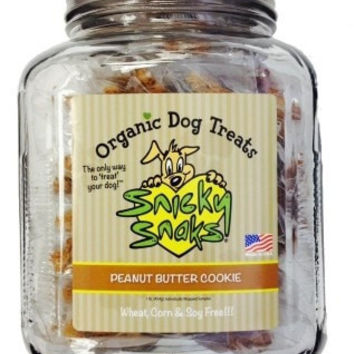 DOG TREATS - BISCUITS & COOKIE - SNICKY SNAKS PEANUT BUTTER COOKIE RETAIL JAR - 16 OZ - ETTA SAYS, LLC (TREAT PLANET) - UPC: 85491305146 - DEPT: DOG PRODUCTS