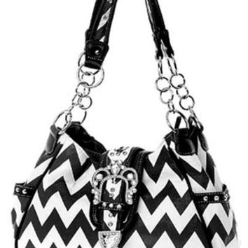 Chevron Print Rhinestone Buckle Hobo Satchel Purse Zig Zag (Black)