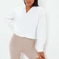 Missguided - White Notch Neck Crop Sweatshirt