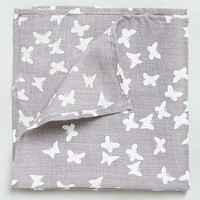 Grey Butterfly Pocket Square - Men's Formal Accessories - Shoes and Accessories