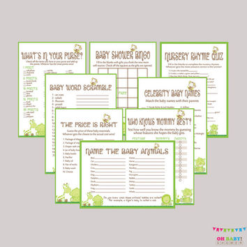 Green Baby Shower Safari Games Package - EIGHT Printable Games: Bingo, Price is Right, Purse Game, etc - Safari Baby Shower Games - BS0001-G