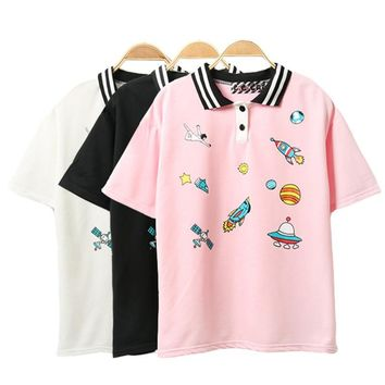 Cute Pink Harajuku Printed T Shirt Kawaii Cartoon Tee Tops 2017 Ladies Fashion Character Kawaii Cute T-shirt Women Clothing