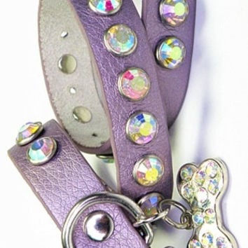 Lavender Leather Bling Collar