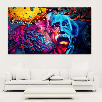 Abstract Psychedelic  Einstein Painting Colorful Wall Art