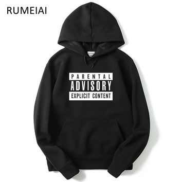 RUMEIAI New Parental Advisory Sweatshirt men hoodies and sweatshirts Hip Hop Hoodie Mens Tracksuits Pullovers Streetwear Fleece
