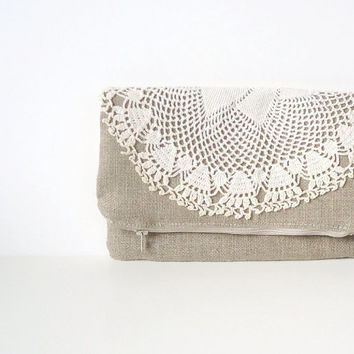 Ready to Ship - Large Burlap Foldover Zipper Clutch Vintage Lace Doily