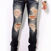 (alu) Machine Dark stone wash distressed flare jeans