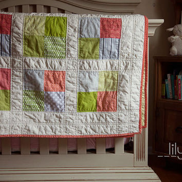 MADE TO ORDER Modern Patchwork Quilt Twin Sized or Picnic Blanket with free shipping
