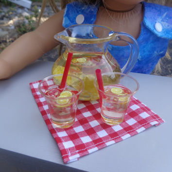 Lemonade Cups & Pitcher for American Girl/18-in Dolls