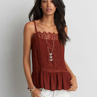 AEO Lace Trim Pintucked Cami , Rust