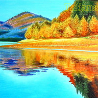 "Golden Autumn original oil painting on stretched canvas 15,75""-19,68""  (40 см by 50 см) sunly and bright"