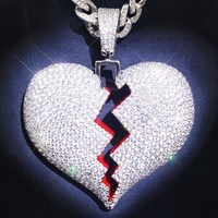 Sterling Silver Broken Heart Custom Iced Out Pendant Only