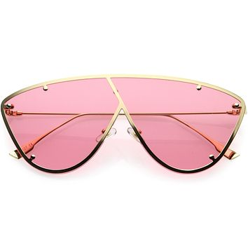 Luxe Studded Thin Metal Arms Modern Oversize Angular Aviator Sunglasses D025