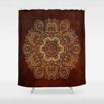 "Shower Curtain - Royal red and Gold Mandala - 71"" by 74"" Home Decor, Bathroom, Bath, Dorm, Girl, Decor, Boho, Mandala, Red, Hippie, Bohemian"