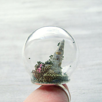 Cosmic Landscape, globe ring, glass dome with Shiny Silver Adjustable Ring Base, mini terrarium ring, terrarium jewelry